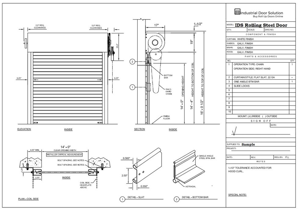 Sample Specific Shop Drawing
