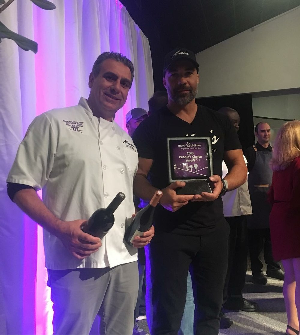 "Pietro Passalacqua and Massimo Mannino accepting the March of Dimes ""People's Choice"" Award."