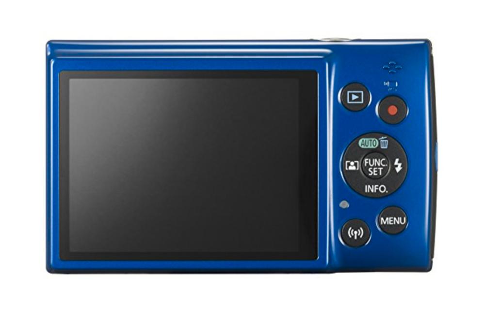 blue canon Powershot ELPH camera