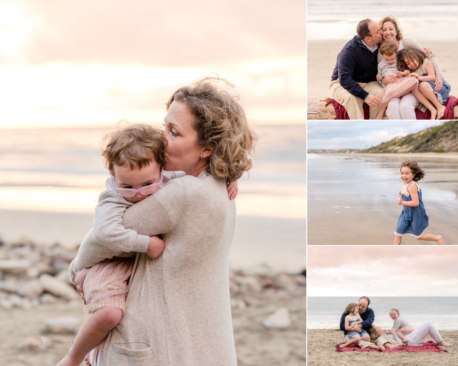 collage of family hugging and snuggling at the beach in Palos Verdes