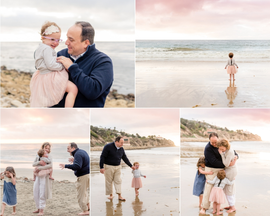 father and daughters playing at RAT Beach in Palos verdes