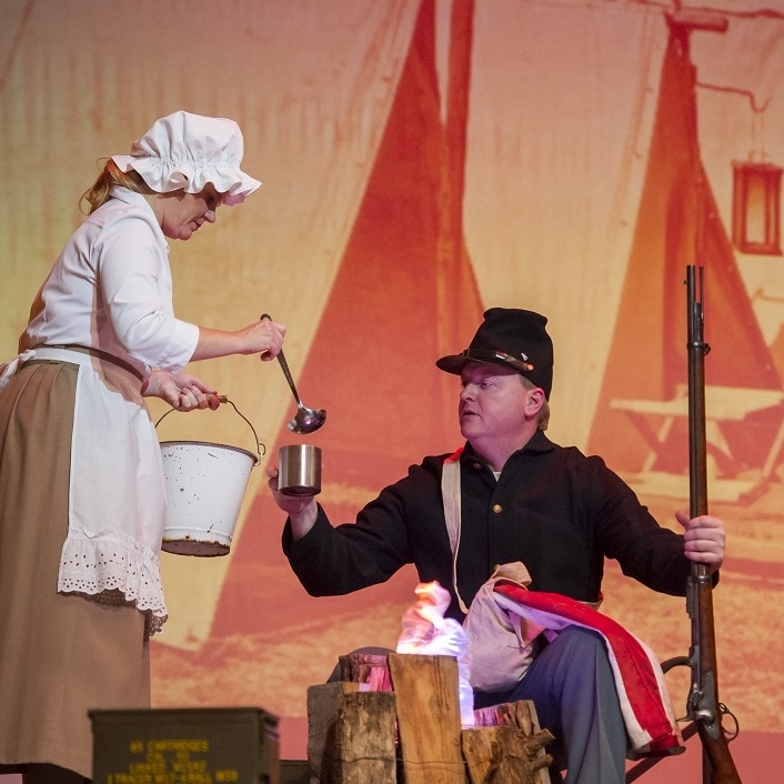 Civil War - Jane (Theresa Werner)& Johnny Vet (James Martin)Photo Credit: Rod Lamkey
