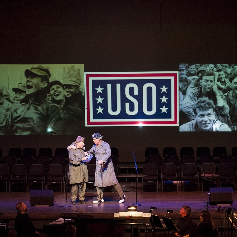 Korean War - LTG Ed Almond (Richard Kaufmann) & Bob Hope (Jess Gatlin '68)Photo Credit: Rod Lamkey