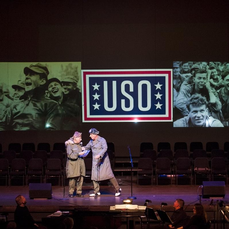 Korean War - LTG Ed Almond (Richard Kaufmann) & Bob Hope (Jess Gatlin '68)Photo Credit: Rod Lamkey