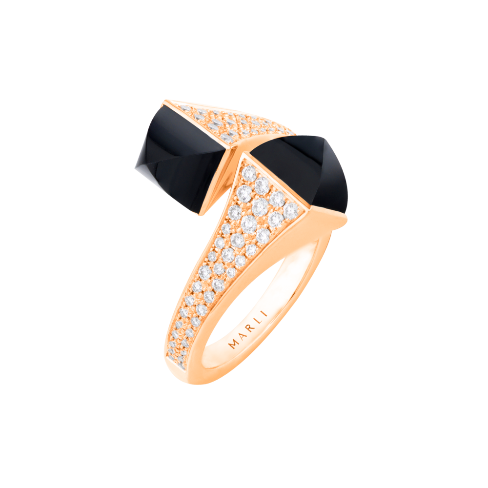 Cleo Statement Diamond Ring in Rose Gold with Black Onyx