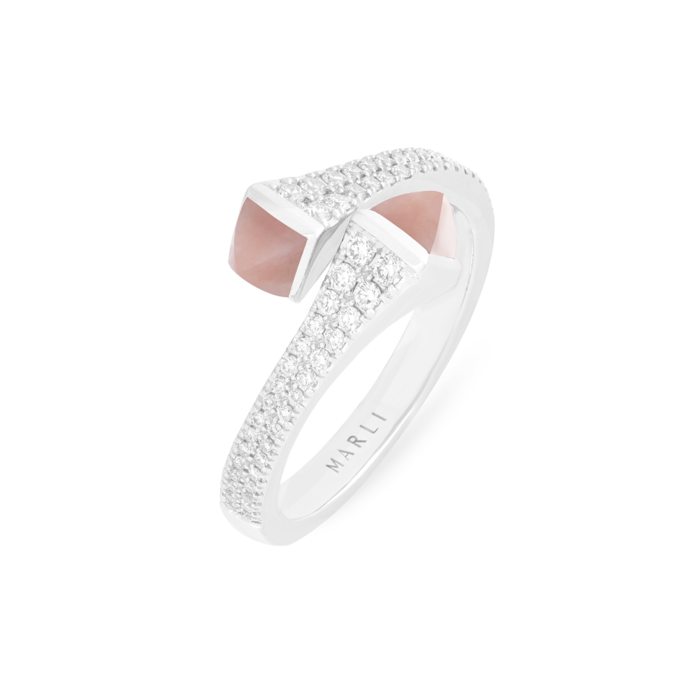Cleo Diamond Ring in White Gold with Pink Opal