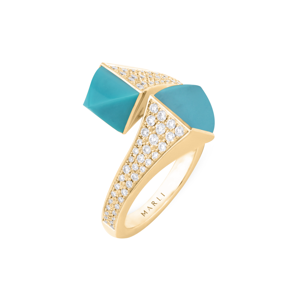 Cleo Statement Diamond ring in Rose Gold with Turquoise