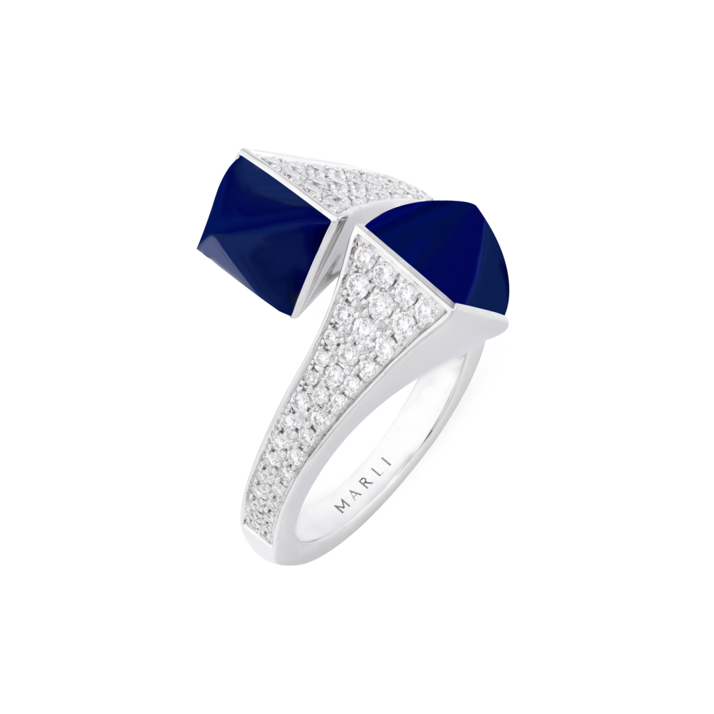 Cleo Statement Ring in White Gold with Lapis