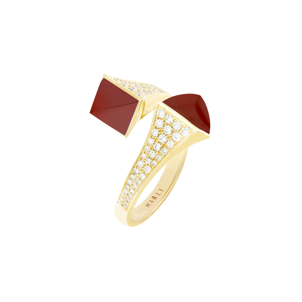Cleo Statement Ring in Yellow Gold with Red Agate