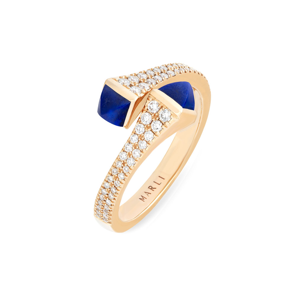 Cleo Diamond Ring in Rose Gold with Lapis