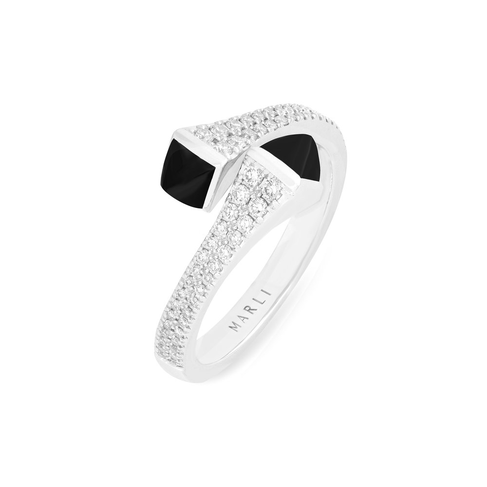 Cleo Diamond Ring in White Gold with Black Onyx