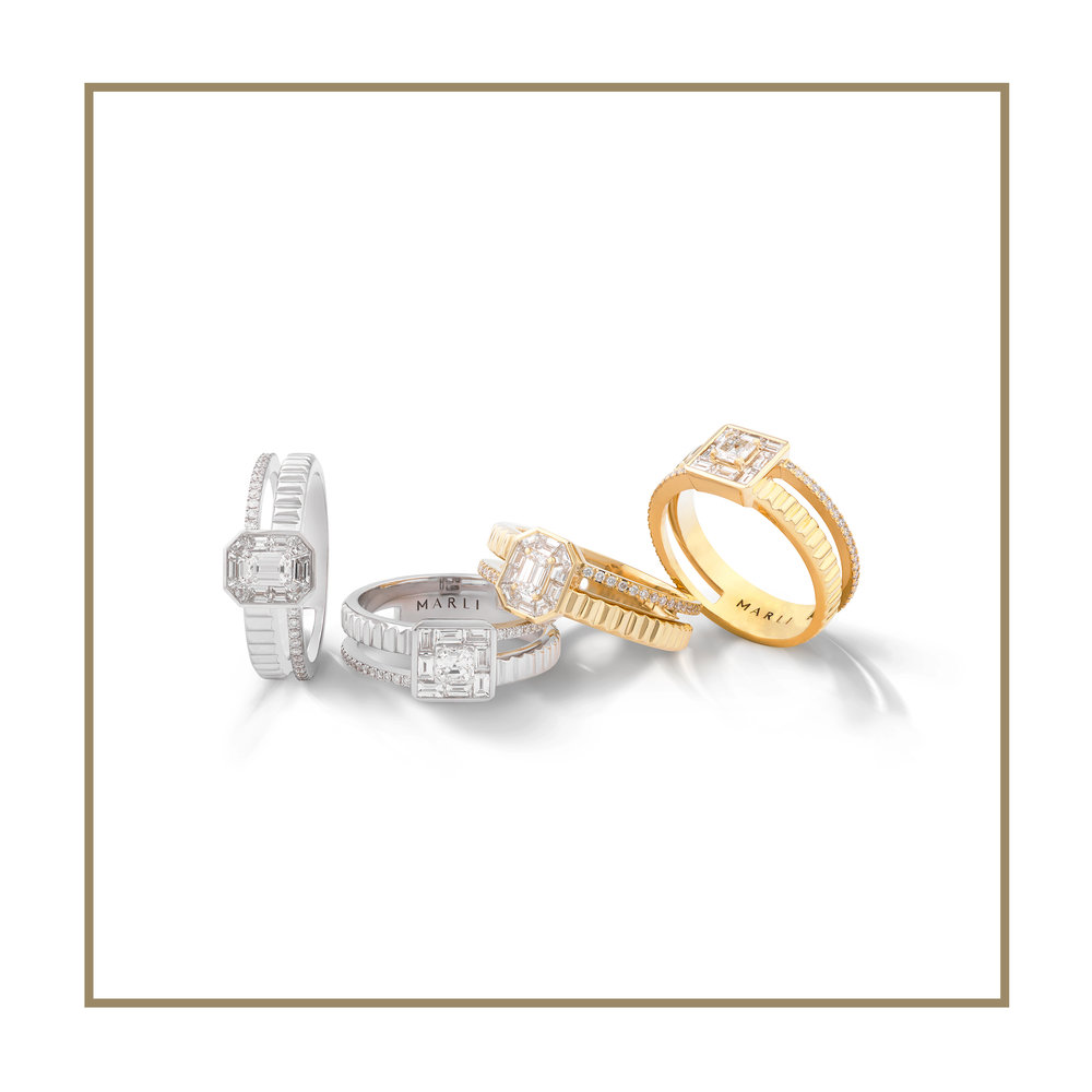 - GEOMETRICAL. ICONIC. EFFORTLESS.The Deco collection is inspired by the decorative arts and architecture movement originated in the roaring '20s, the Art Deco movement.The collection features streamlined and geometric shapes, bringing a fresh new take on the Deco tradition.Each piece features a dynamic duo, the baguette and the emerald cut diamond, surrounded by the iconic diamonds, individually cut by the MARLI artisans.Each piece is perfection in details, splendid luxury in simplicity.