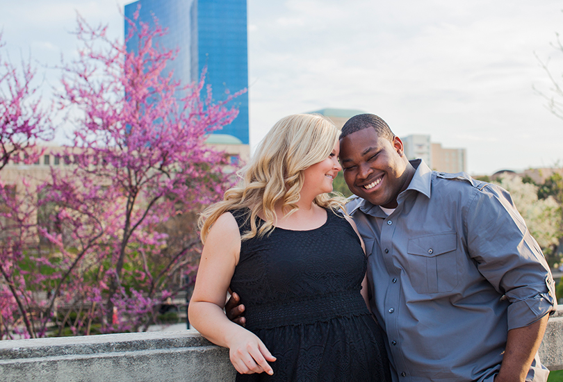 Downtown Indianapolis Canal engagement portrait photographer spring blossom tree.jpg