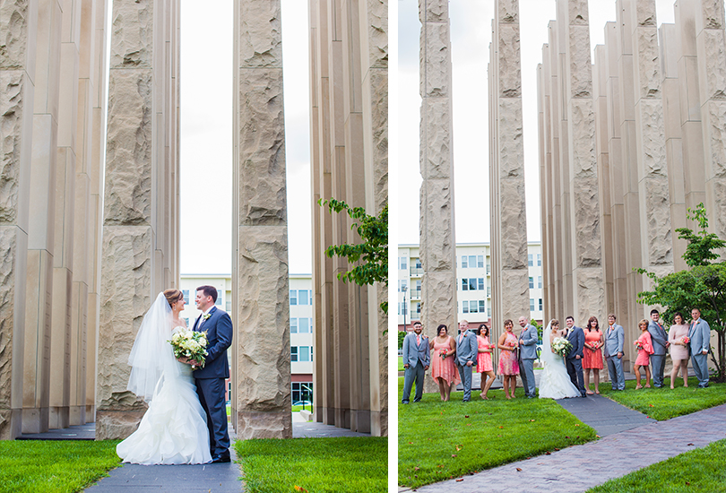 Columbus-Indiana-wedding-photographer-bridal-party-memorial-pillars.jpg
