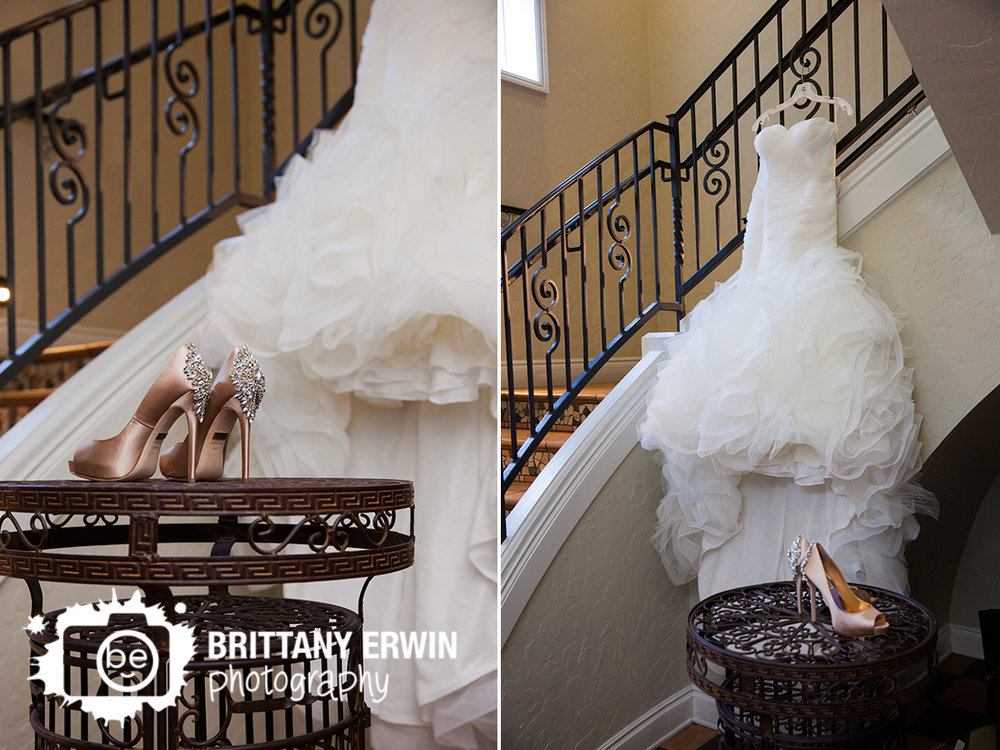 Indianapolis-wedding-photographer-pronovias-bridal-gown-dress-on-stairwell-badgley-mischka-shoes.jpg