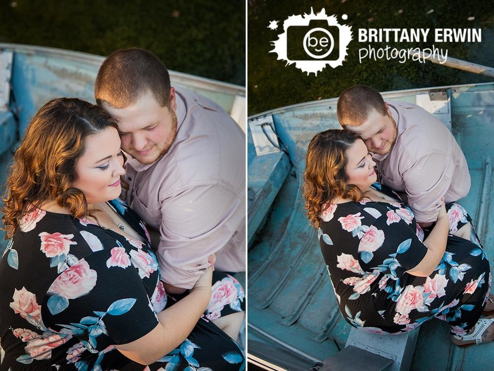 Couple in boat on pond in Camby Indiana - Engagement session