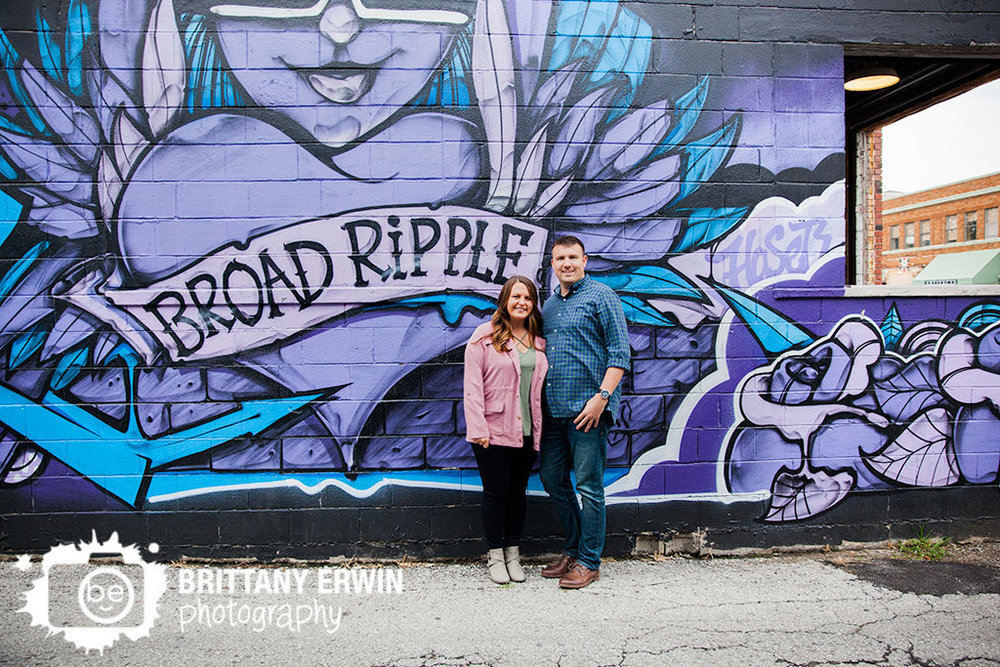 Broad Ripple Indiana engagement portrait mural Brittany Erwin Photography