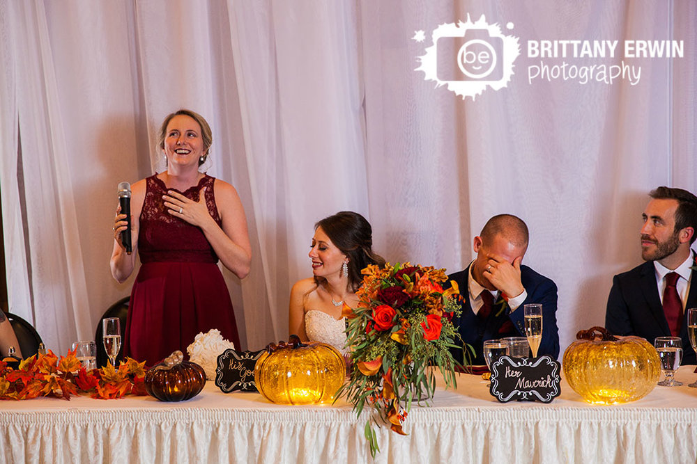 Noblesville-Indiana-Purgatory-Golf-Club-wedding-reception-photographer-maid-of-honor-toast-reaction-bride.jpg
