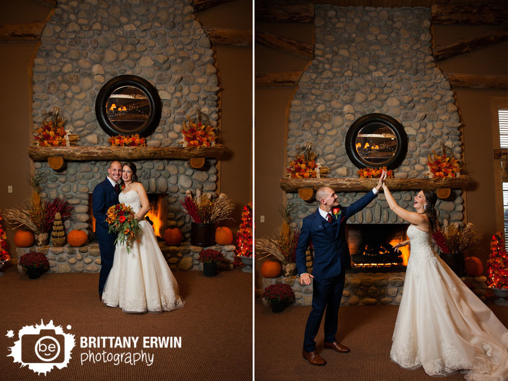 Noblesville-Purgatory-Golf-Club-fireplace-fall-wedding-photographer-couple-high-five.jpg