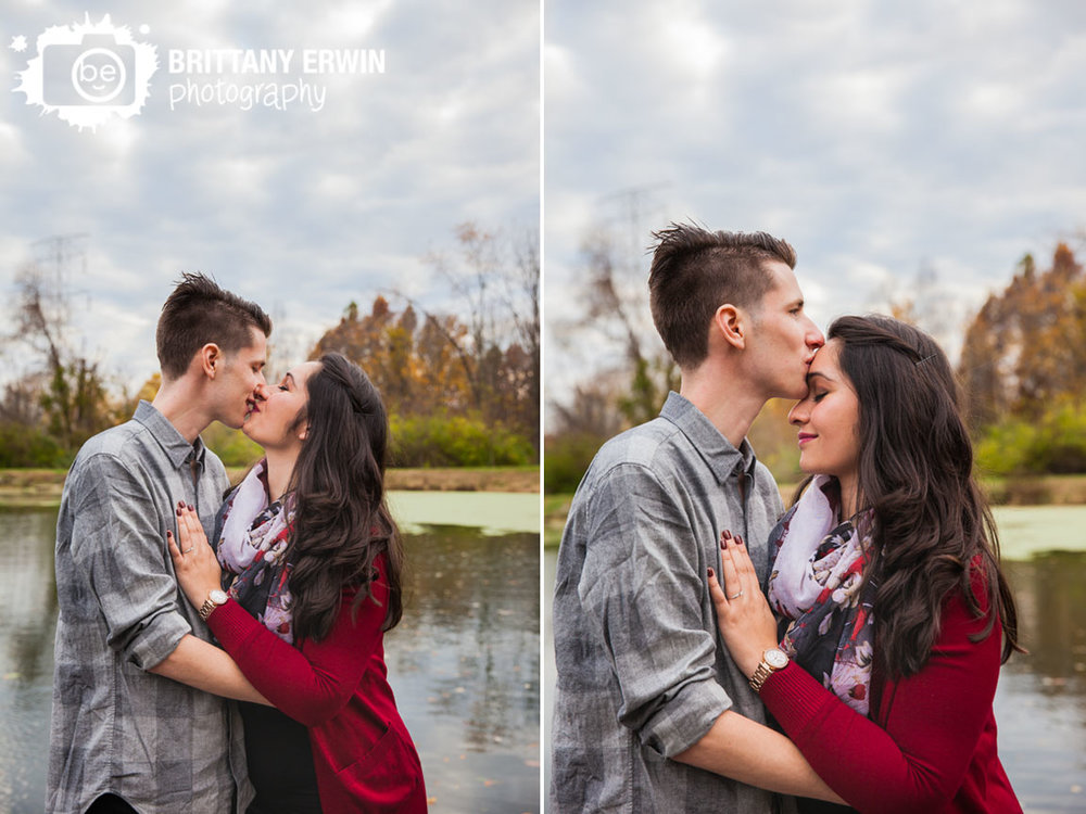 Indianapolis-engagement-portrait-couple-forehead-kiss-pond-reflection.jpg