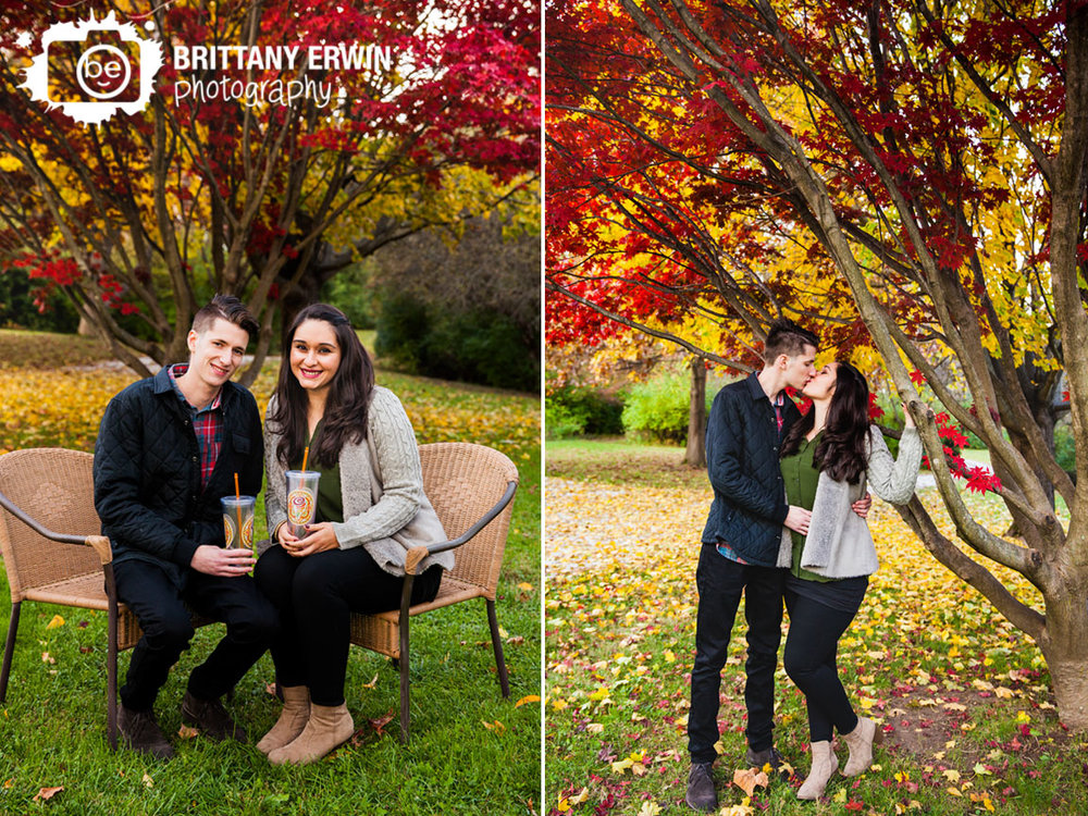 Indianapolis-engagement-portrait-photographer-Jamba-Juice-cups-couple-under-japanese-maple-tree-kiss.jpg