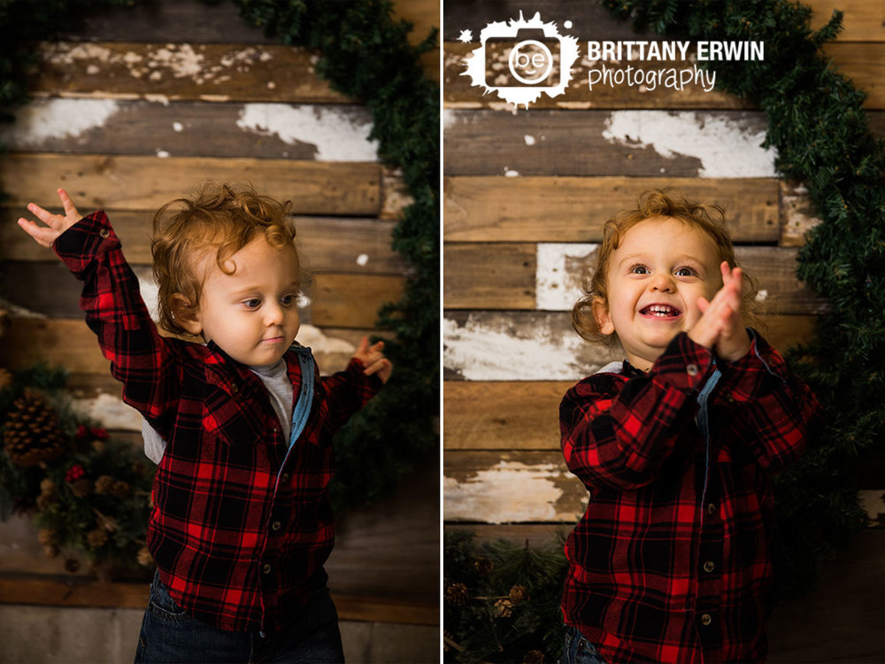 Speedway-christmas-mini-session-photographer-plaid-jacket-clapping-toddler-boy.jpg