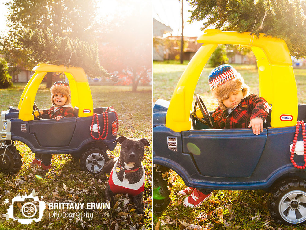 Speedway-Indiana-christmas-portrait-photographer-boy-dog-truck-with-tree-tied-to-top.jpg