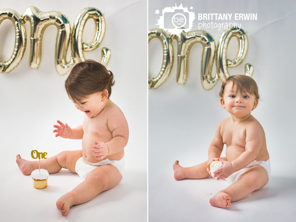 Indianapolis-studio-portrait-photographer-white-backdrop-cupcake-cake-smash-first-birthday-boy-one-balloon.jpg