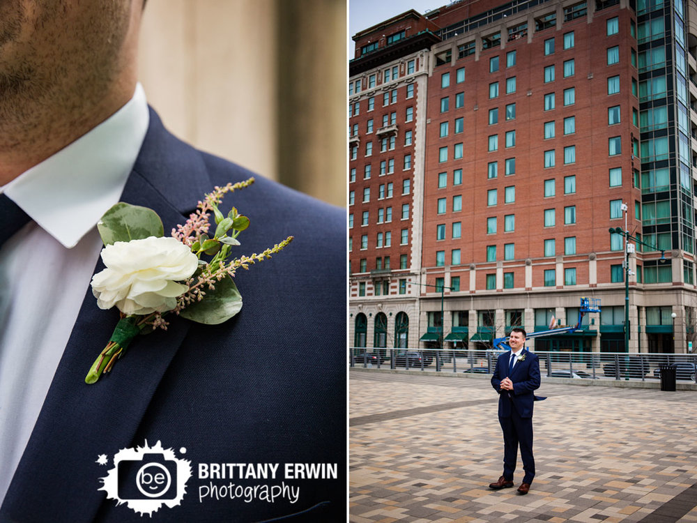 Downtown-Indianapolis-wedding-photographer-pan-am-plaza-first-look-groom-custom-blooms-boutonniere.jpg