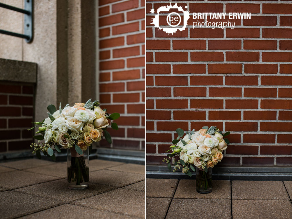 Indianapolis-wedding-photographer-custom-blooms-bridal-boquet-rose-vase-outside-brick-wall-omni-hotel.jpg