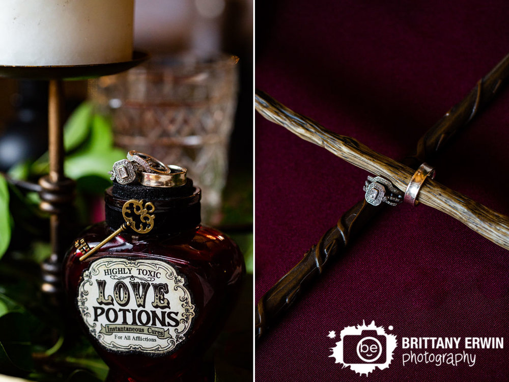 Nerdy-Fox-Rentals-wedding-table-setup-harry-potter-centerpiece-rings-on-love-potion-bottle.jpg