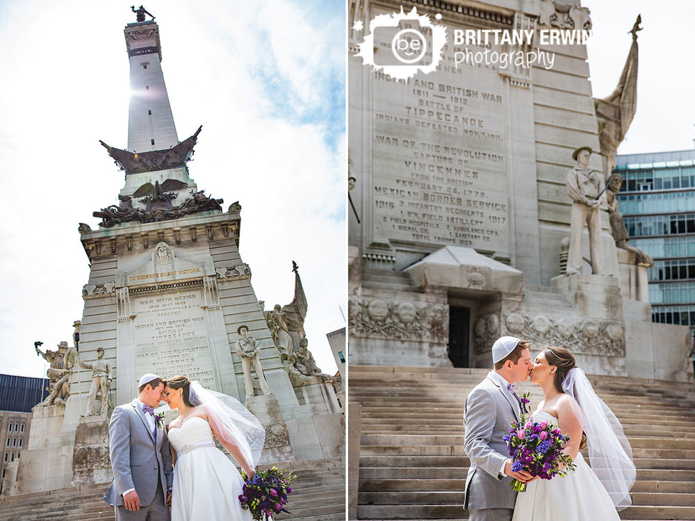 Downtown-Indianapolis-monument-circle-bride-groom-couple-kiss-violets-are-blue-indy.jpg