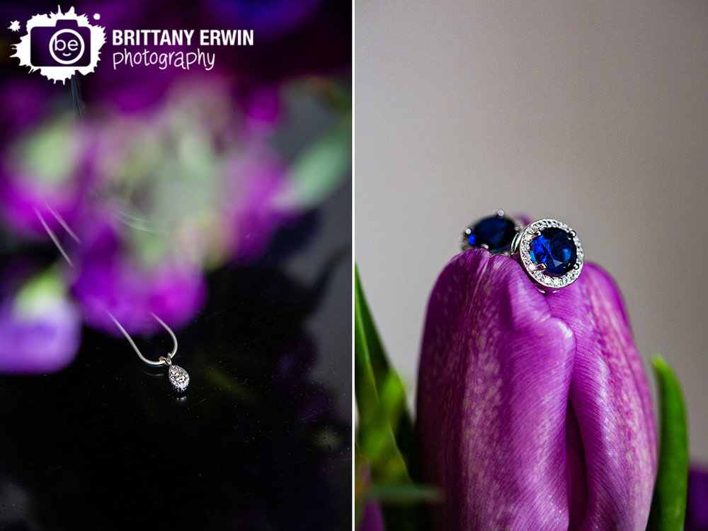 Downtown-Indianapolis-wedding-photographer-violets-are-blue-indy-florist-tulip-earrings-necklace-under-purple-flowers.jpg