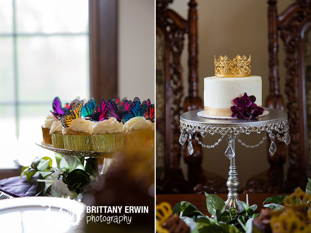 Clayshire-Castle-wedding-reception-photographer-butterfly-topped-cupcake-crown-cake-topper-dessert-table.jpg