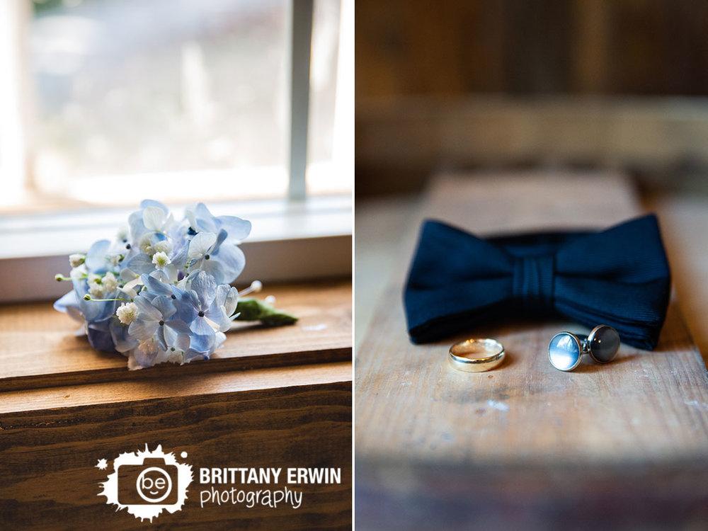 Boutonniere-blue-flowers-cuff-links-gold-wedding-band-black-bowtie.jpg
