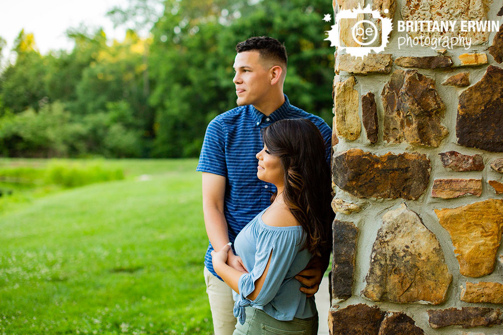 Indianapolis-engagement-portrait-photography-couple-looking-at-pond.jpg