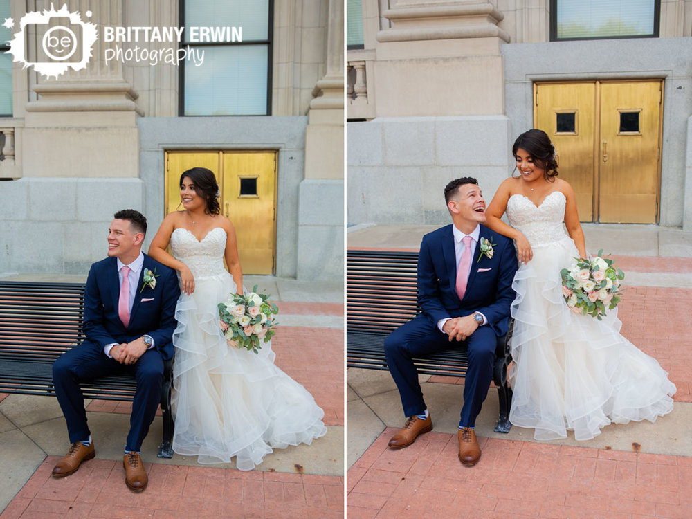 Downtown-Indianapolis-wedding-photographer-pink-rose-bouquet-tie-gold-door.jpg