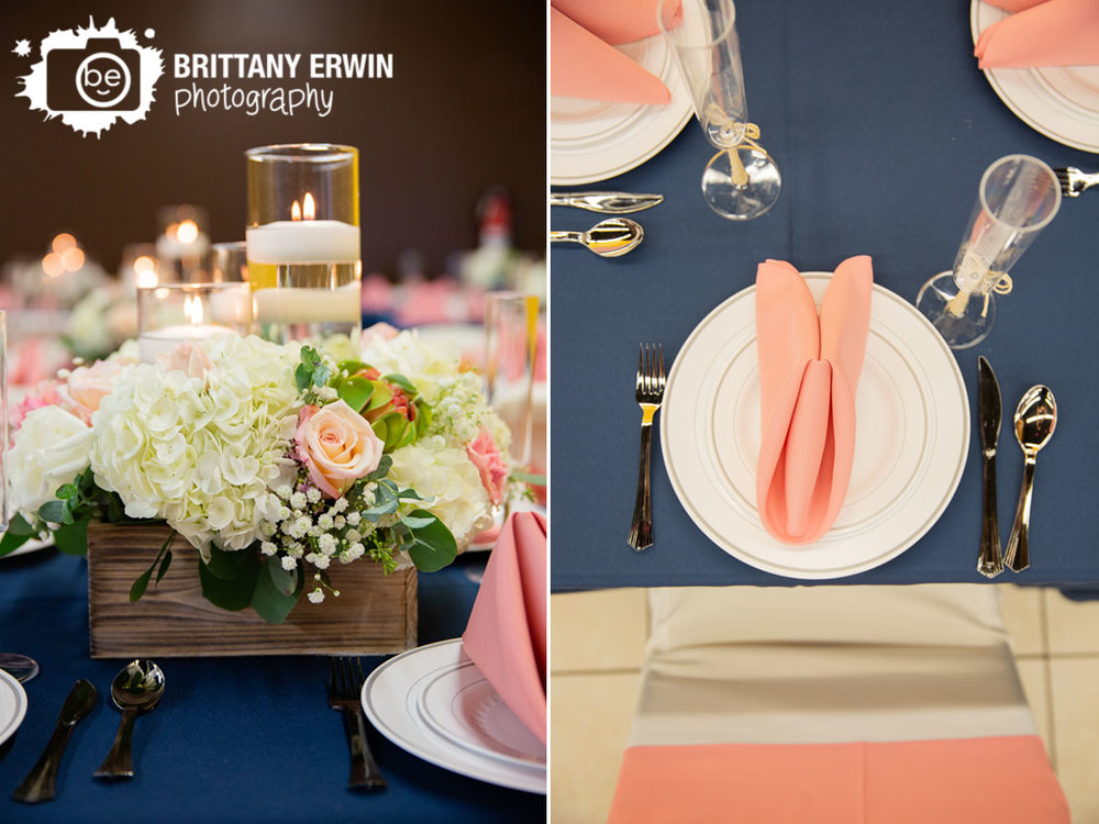 Indianapolis-wedding-photographer-floral-centerpiece-with-candles-pink-napkin-navy-tablecloth.jpg