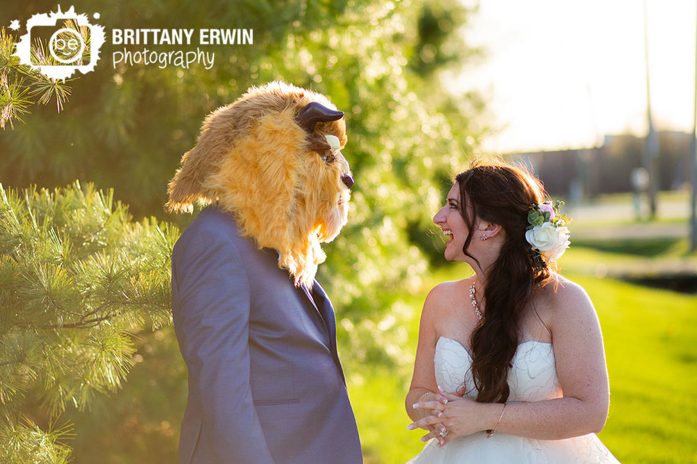 Columbus-Indiana-wedding-photographer-nerdy-beast-mask-groom-couple-fun-sunset.jpg