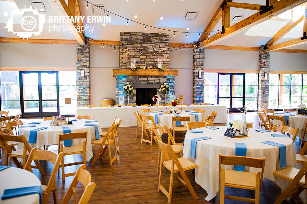 Sycamore-at-Mallow-Run-wedding-photographer-room-shot-blue-napkin-uplighting-fireplace-head-table-alice-in-wonderland-theme.jpg