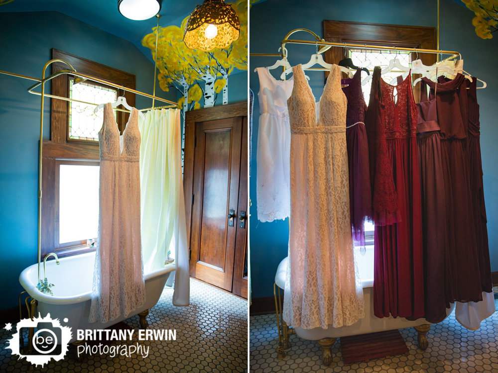 Wedding-photographer-bridal-gown-hanging-antique-claw-foot-tub-with-bridesmaid-dresses.jpg