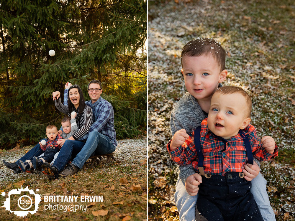 Indianapolis-snow-mini-session-family-ride-sled-brothers-silly-throw-snowballs.jpg