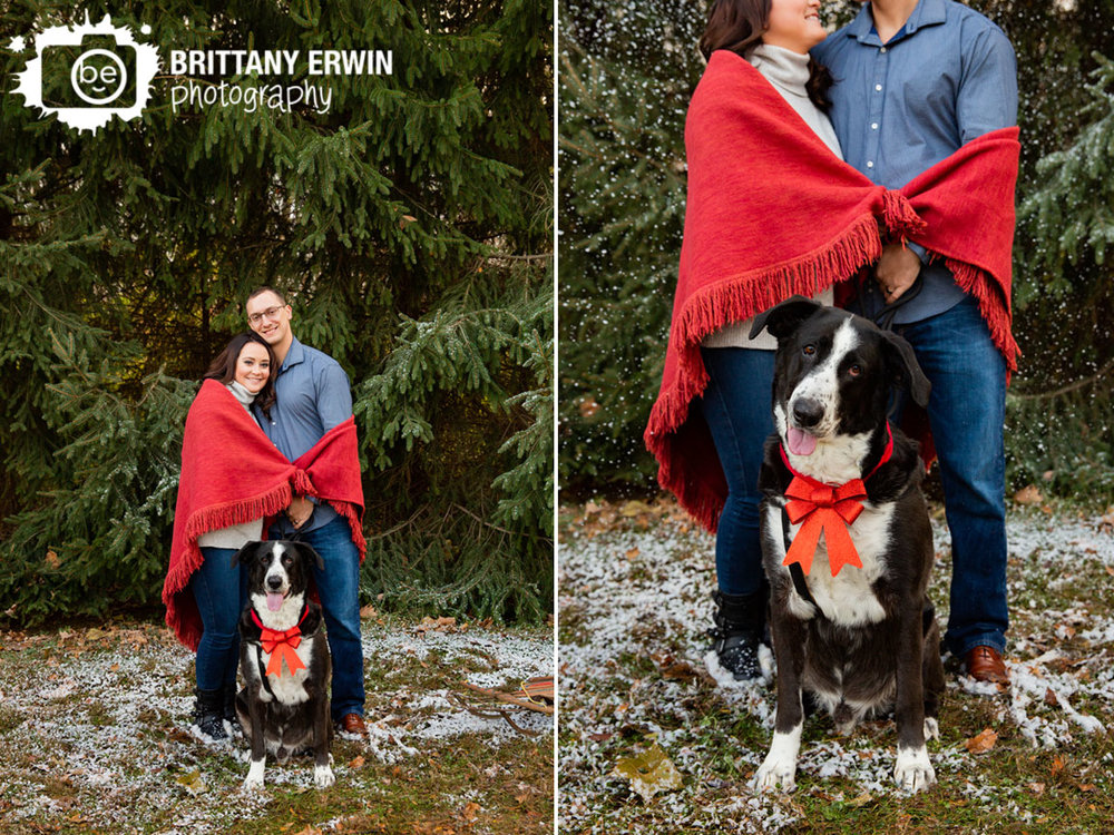 Indianapolis-portrait-photographer-snow-couple-wrapped-in-blanket-with-pet-dog.jpg