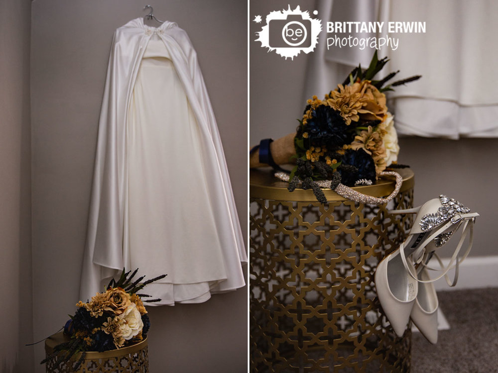 Wedding-dress-hanging-with-bouquet-on-table-shoes-details.jpg