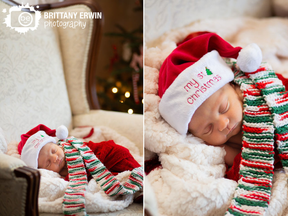 In-home-lifestyle-newborn-portrait-photographer-sleeping-newborn-in-chair-with-Christmas-tree-hat-scarf.jpg