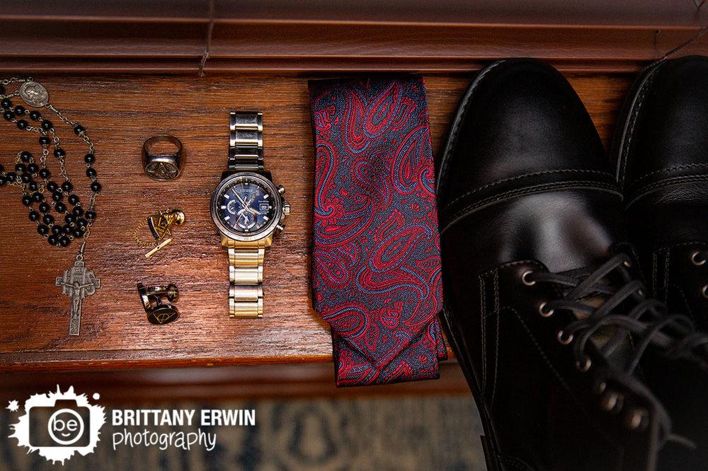 detail-photo-groom-harry-potter-cuff-links-paisley-tie-rosary-watch.jpg