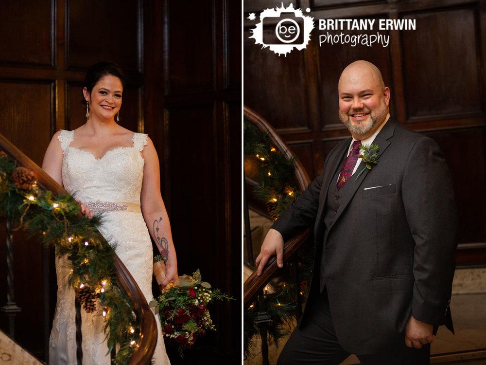 Mahogany-staircase-bride-groom-portrait-christmas-garland-columbia-club.jpg