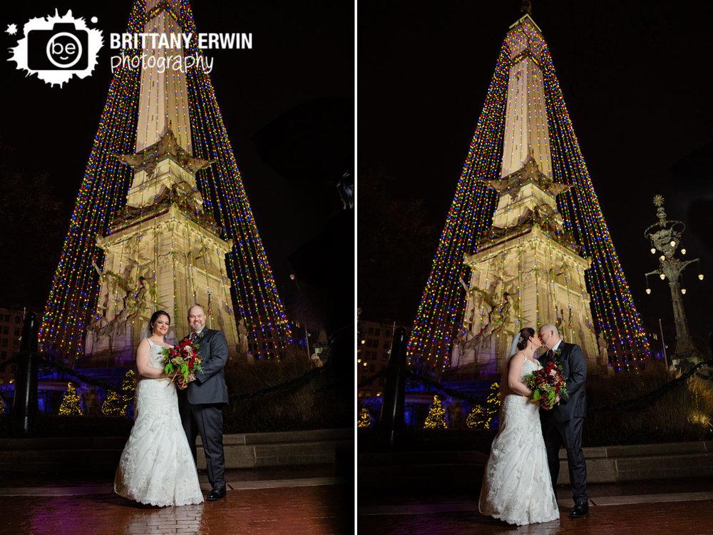 Downtown-Indianapolis-wedding-photographer-couple-on-monument-circle-of-lights-christmas-tree-bride-groom.jpg