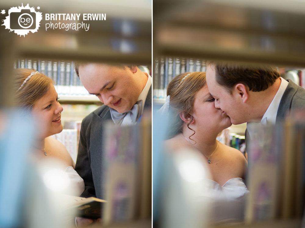 Indianapolis-wedding-photographer-central-library-bridal-portraits-couple-read-through-bookshelves.jpg