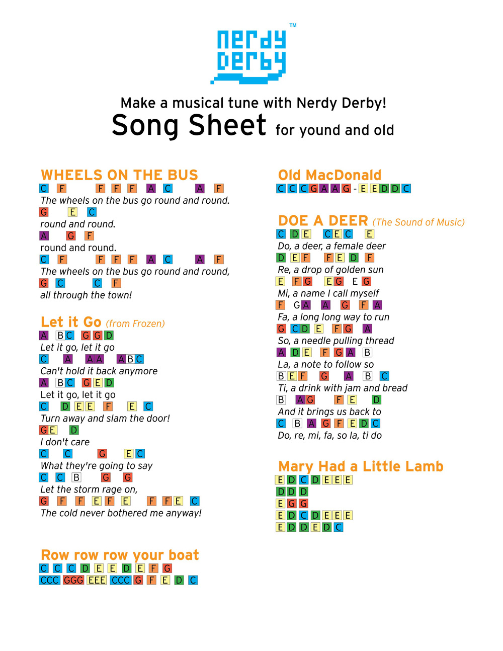 popular song sheet